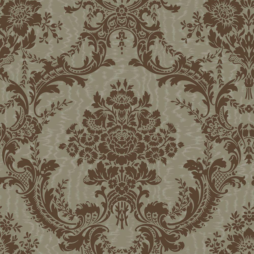 The Wallpaper Company 8 in. x 10 in. Chocolate and Metallic Pewter Mid-Scale Damask on a Moire Background Wallpaper Sample
