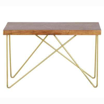 Walter Mango Wood Top with Brass Inlay and Base Sofa Table