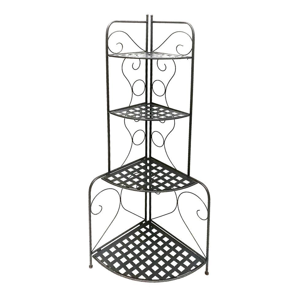 Scrolled Accent Metal Foldable Black Corner Rack with Mesh Design Storage Shelves