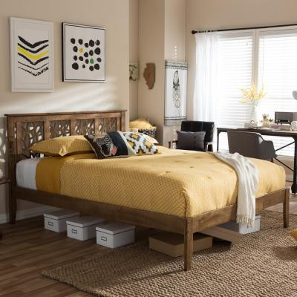 Trina Medium Brown Queen Platform Bed