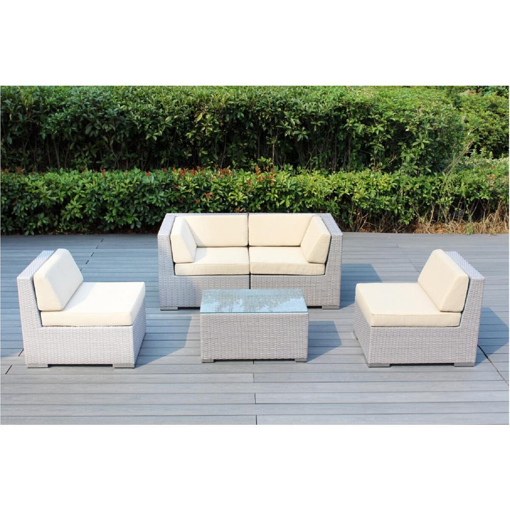 Ohana Gray 5-Piece Wicker Patio Seating Set with Supercrylic Beige Cushions