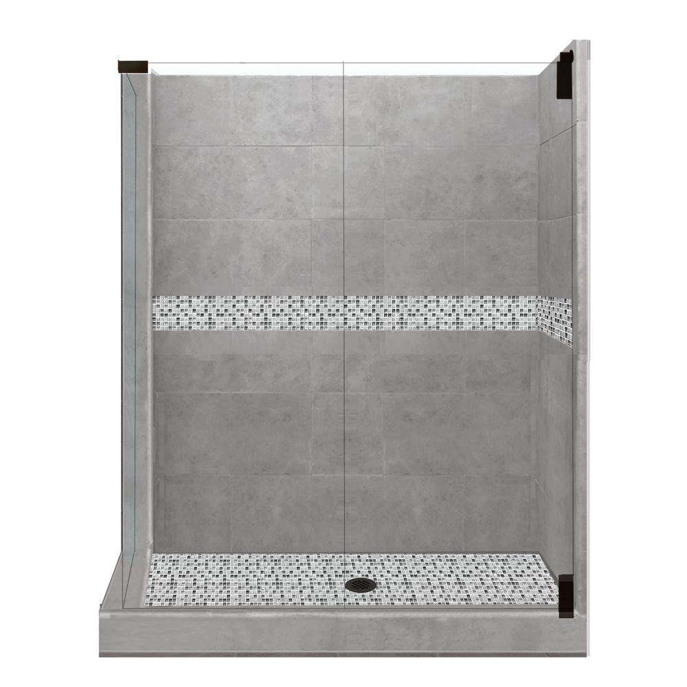 American Bath Factory Del Mar Grand Hinged 32 In X 36 80 Right Hand Corner Shower Kit Wet Cement And Black Pipe Hardware
