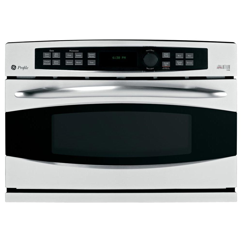 GE Profile Advantium 27 in. Single Electric Wall Oven with Convection in Stainless Steel