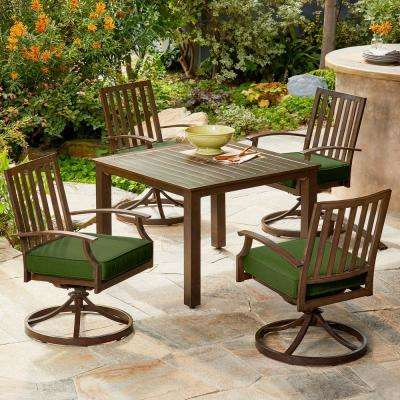 Bridgeport 5-Piece Metal Motion Outdoor Dining Set with Green Cushions