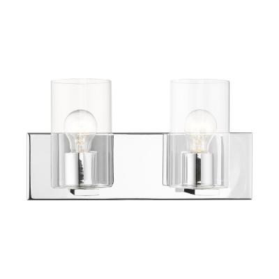 Zurich 4.5 in. 2-Light Polished Chrome Vanity Light with Clear Glass Shades