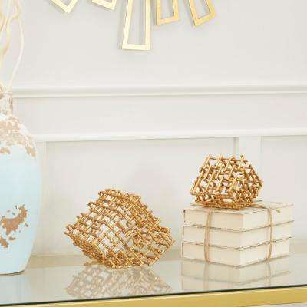 Golden Twig Decorative Cube Metal (Set of 2)