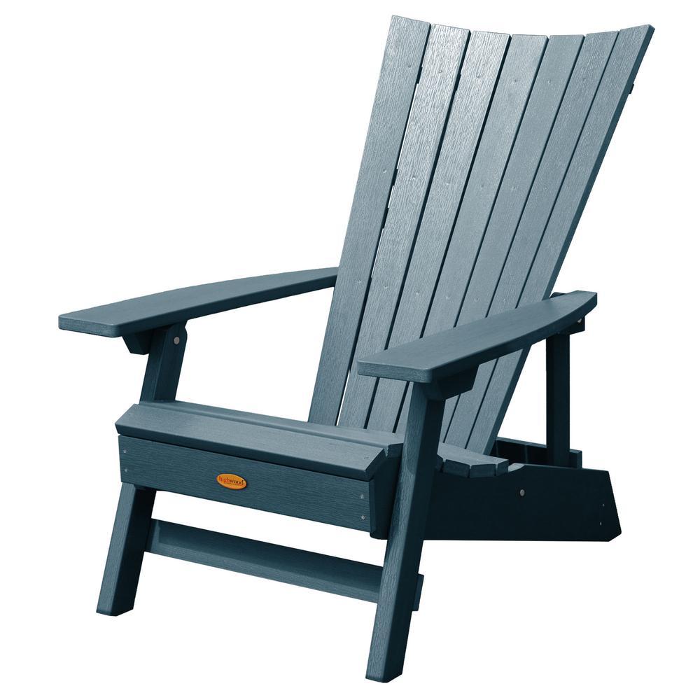 Manhattan Beach Nantucket Blue Folding and Reclining Recycled Plastic Adirondack Chair