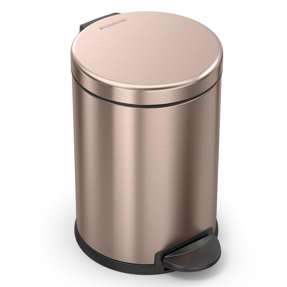 simplehuman 1.2 Gal. Round Step Trash Can in Rose Gold Stainless Steel