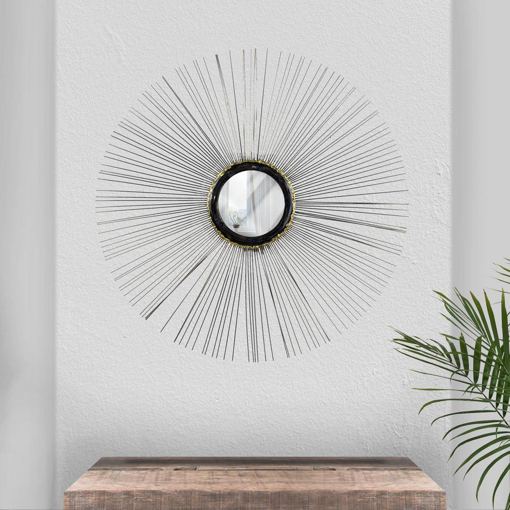 crystal art gallery silver wire sunburst wall mirror 161162web the home depot. Black Bedroom Furniture Sets. Home Design Ideas
