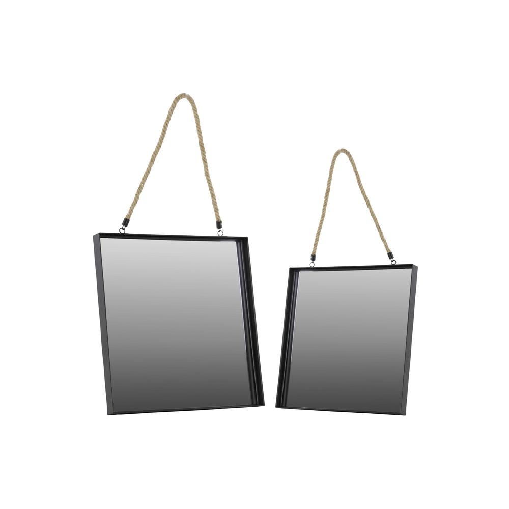 Urban Trends Collection Square Black Coated Wall Mirror (Set of 2)