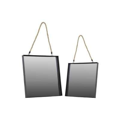 Square Black Coated Wall Mirror (Set of 2)