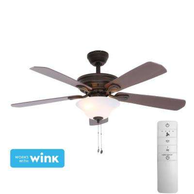 Wellston 44 in. LED Indoor Oil Rubbed Bronze Smart Ceiling Fan with Light Kit and WINK Remote Control