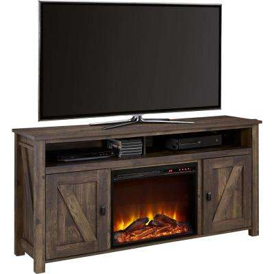 Brownwood Rustic 60 in. TV Console with Fireplace