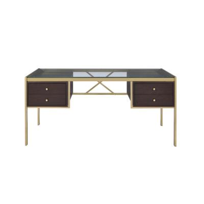Yumia Clear Glass and Gold Desk