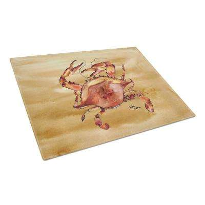 Cooked Crab Sandy Beach Tempered Glass Large Heat Resistant Cutting Board