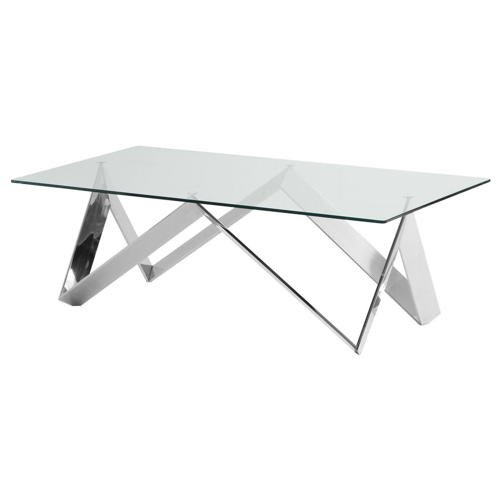 Armen Living Scarlett Clear Contemporary Rectangular Coffee Table In