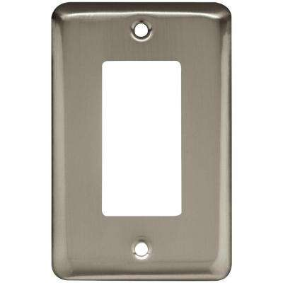 Stamped Round Decorative Single Rocker Switch Plate, Satin Nickel