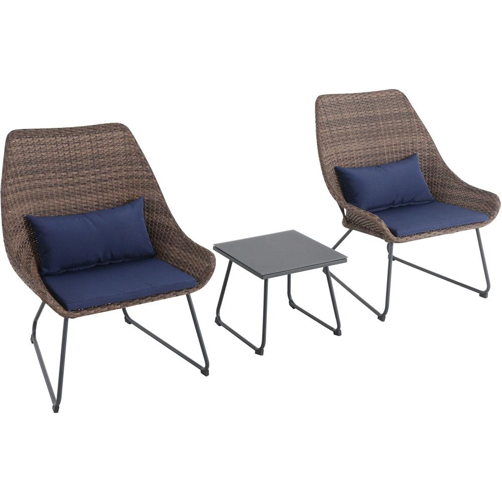 Montauk 3-Piece Wicker Patio Seating Set with Navy Cushions