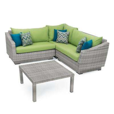 Cannes 4-Piece Patio Corner Sectional Set with Ginkgo Green Cushions