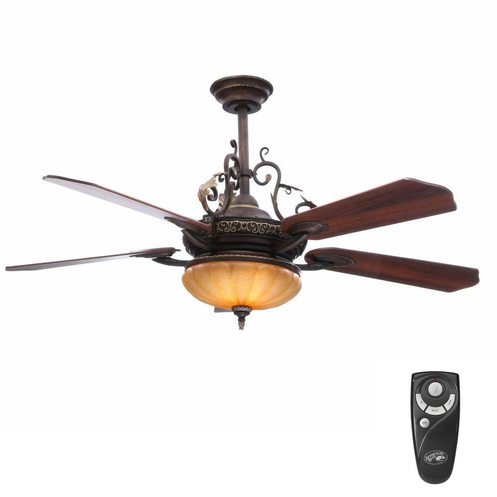 Hampton Bay Chateau De Ville 52 in. Indoor Walnut Ceiling Fan with Light Kit and Remote Control
