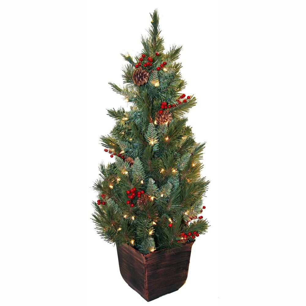 general foam 4 ft pre lit pine artificial christmas tree with berries and pine cones hd e149c1p. Black Bedroom Furniture Sets. Home Design Ideas
