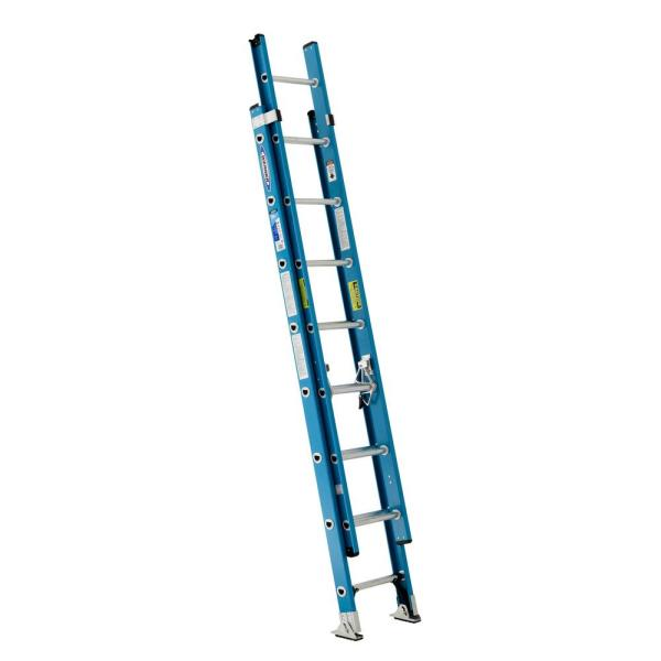 16 ft. Fiberglass Extension Ladder with 250 lb. Load Capacity Type I Duty Rating