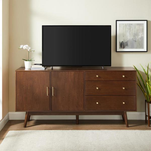 Welwick Designs Walnut 70 In Mid Century Modern 3 Drawer And 2 Door Sideboard Hd8493 The Home Depot