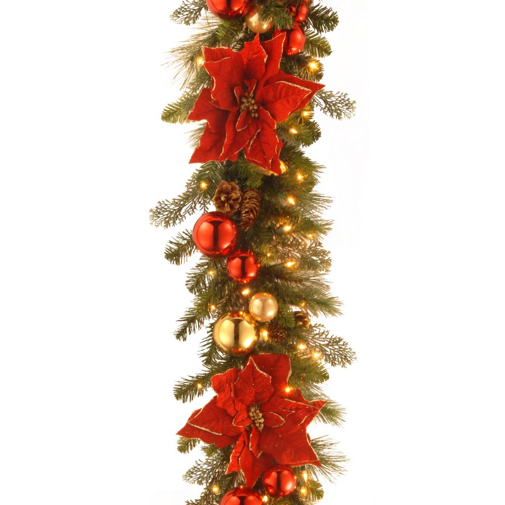 Decorative Collection 9 ft. Home for the Holidays Garland with Clear