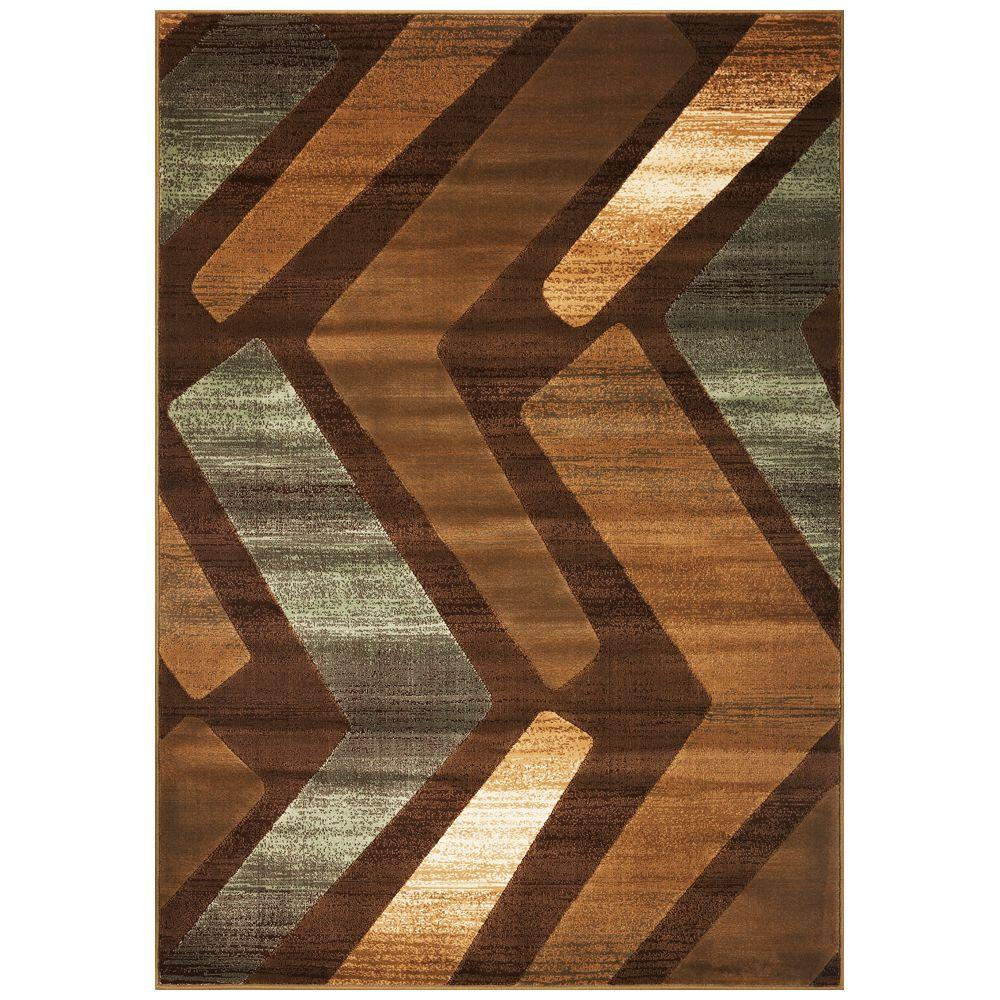 Kas Rugs Soft Angles Brown 5 ft. 3 in. x 7 ft. 8 in. Area Rug-DISCONTINUED
