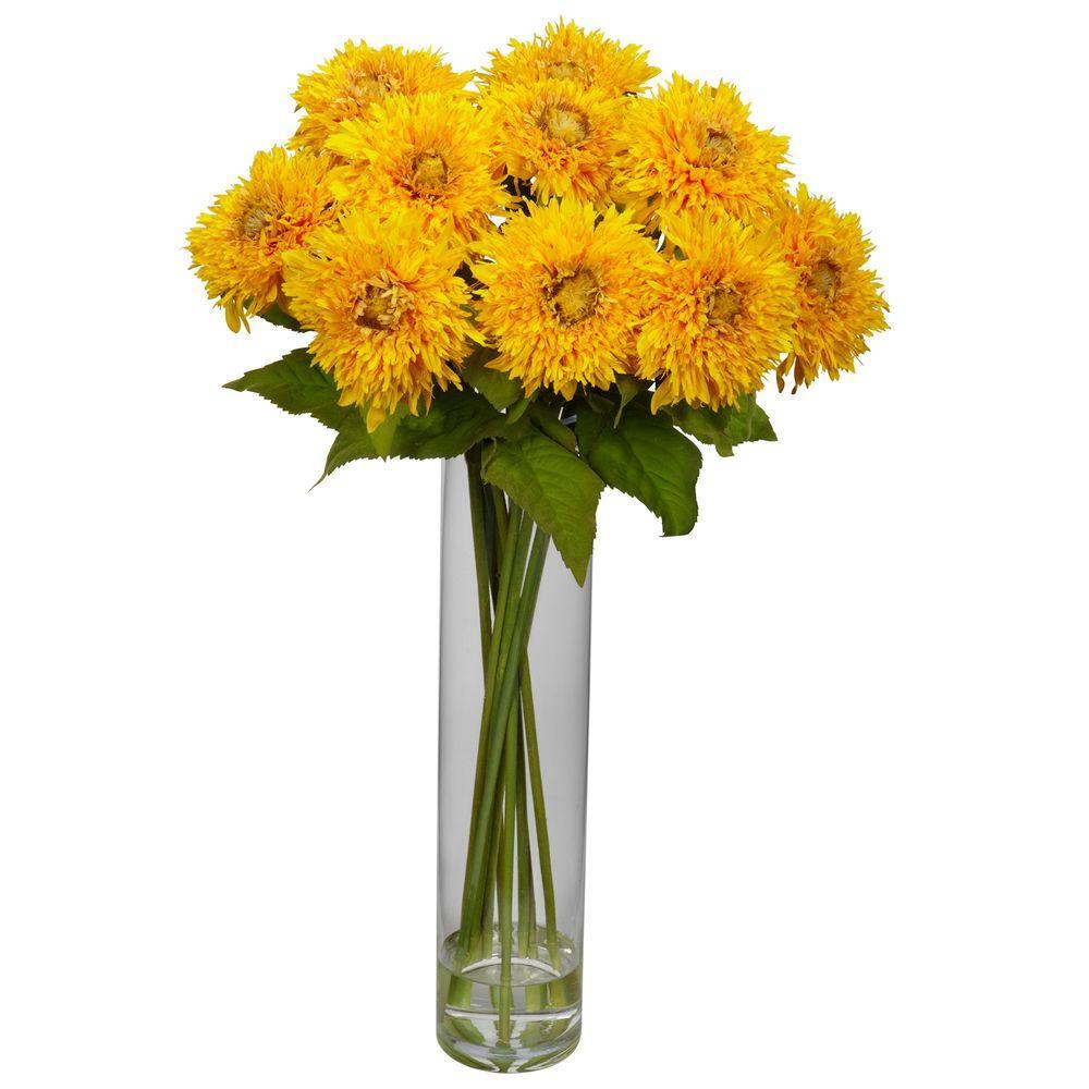 27 in. H Yellow Sunflower with Cylinder Silk Flower Arrangement