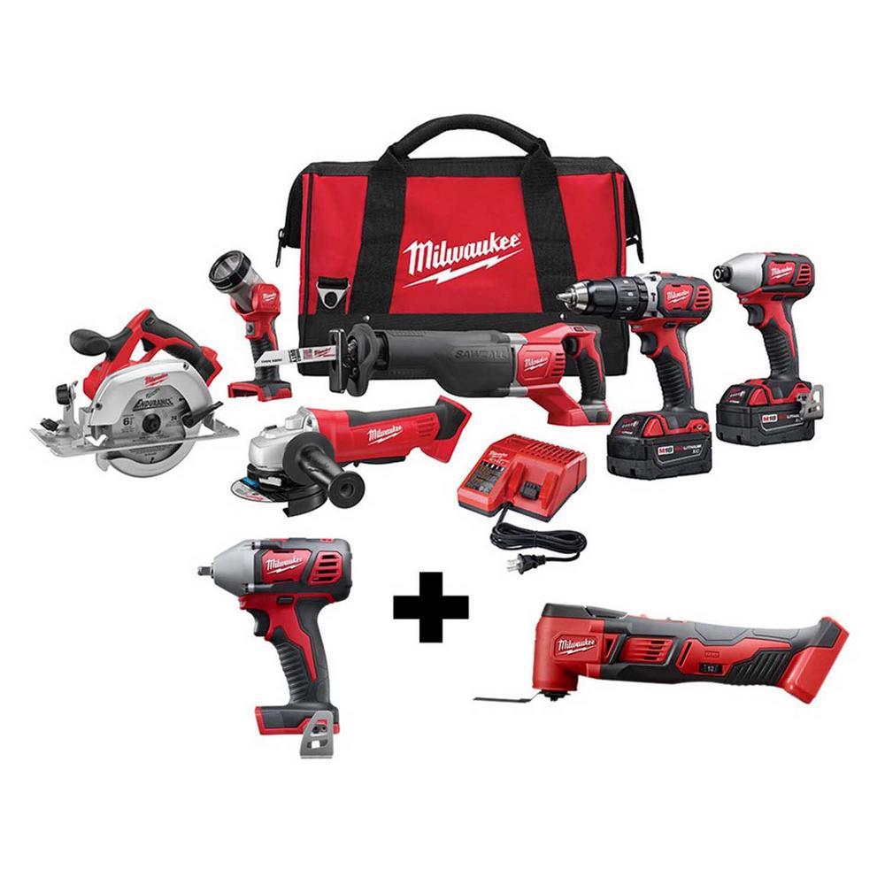 Milwaukee M18 18-Volt Lithium-Ion Cordless Combo Tool Kit (6-Tool) with 3/8 in. Impact Wrench and Oscillating Multi-Tool