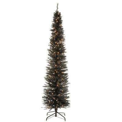 7 ft. Black Tinsel Tree with Metal Stand and 210 Clear Lights