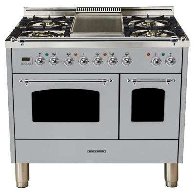 40 in. 4.0 cu. ft. Double Oven Dual Fuel Italian Range True Convection,5 Burners, LP Gas, Chrome Trim/Stainless Steel