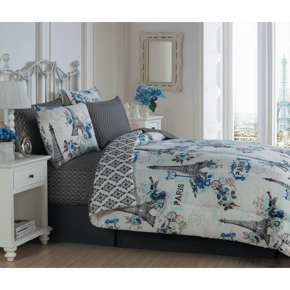 Avondale Manor Cherie Paris Themed 8pc King Blue Comforter