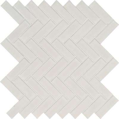 White Glossy Herringbone 9.72 in. x 12.52 in. x 10 mm Porcelain Mesh-Mounted Mosaic Tile (16.9 sq. ft. / case)