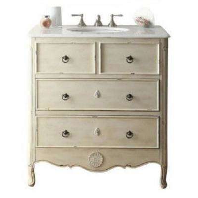 Provence 34 in. W x 21 in. D Bath Vanity in Cream with Marble Vanity Top in White with White Basin