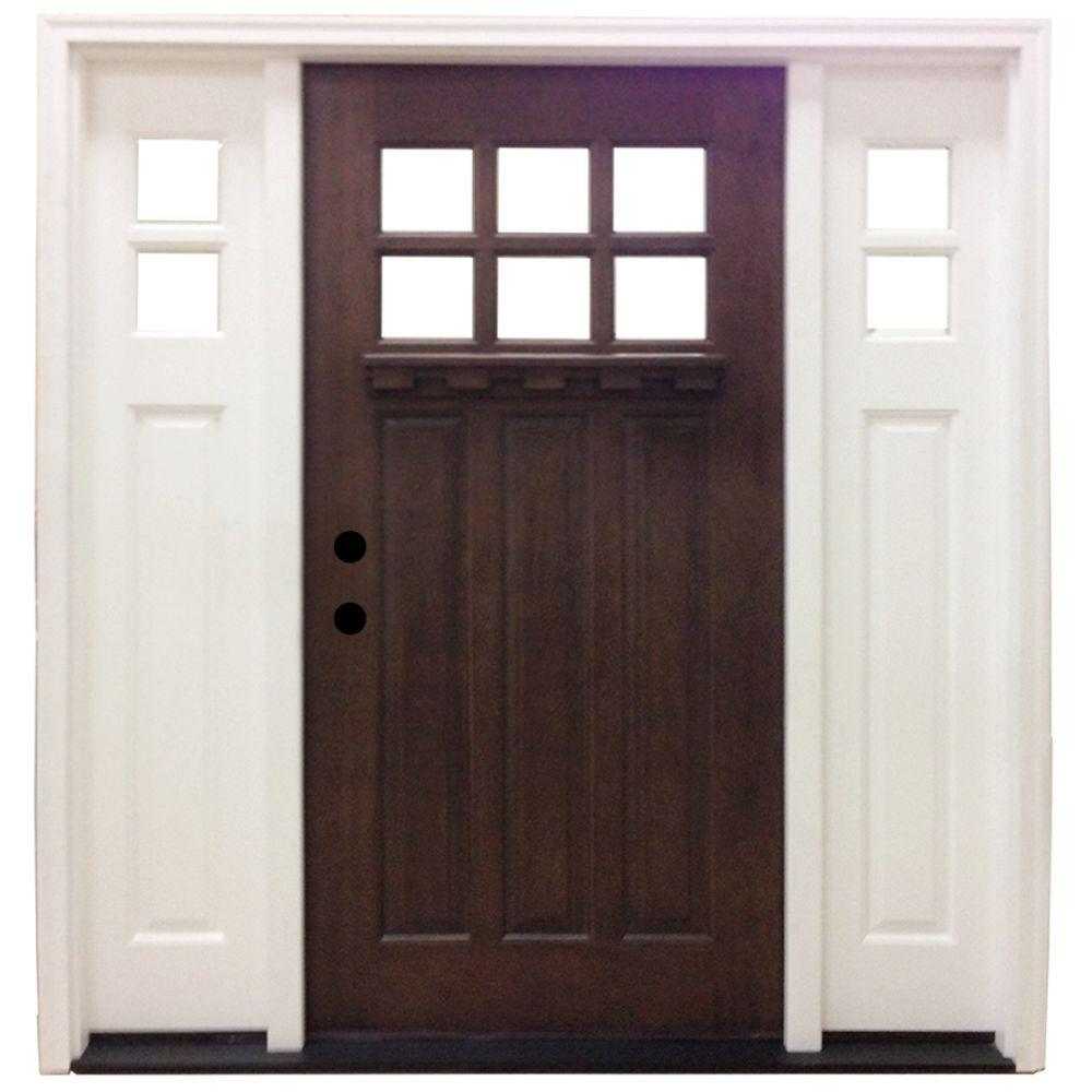 Steves & Sons 64 in. x 80 in. Craftsman 6 Lite Stained Mahogany Wood Prehung Front Door Sidelites