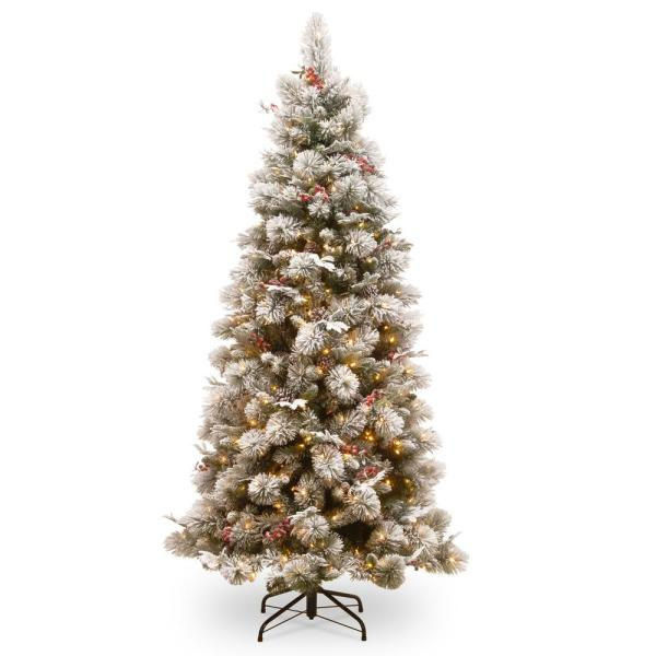 7.5 ft. Snowy Bedford Slim Pine Tree with Clear Lights