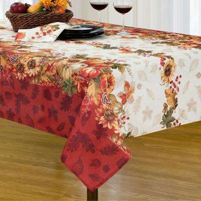 Elrene Swaying Leaves 60 in. W x 144 in. L Double Border Multi Polyester Fabric Tablecloth