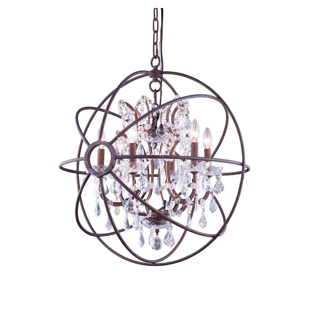 Elegant lighting geneva 6 light rustic intent chandelier with elegant lighting geneva 6 light rustic intent chandelier with clear crystal arubaitofo Images