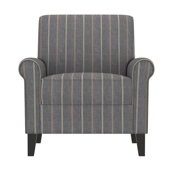 Handy Living Jean Charcoal and Tan Stripe Upholstered Rolled Arm Chair