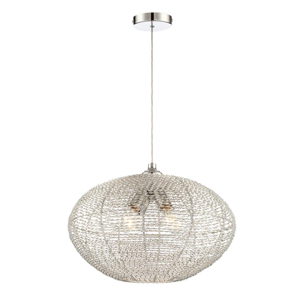 filament design 4 light chrome pendant with aluminum wired