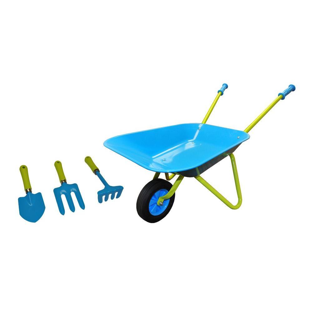 G f justforkids wheel barrel and garden tool set 10041 for Garden tools for 4 wheeler
