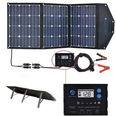 120-Watt Foldable Suitcase OffGrid Solar Panel Kit with ProteusX 20-Amp Waterproof LCD Charge Controller