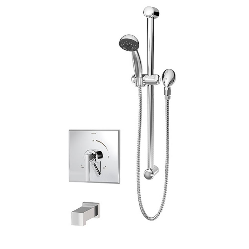 Duro Single-Handle 1-Spray Tub and Shower Faucet with Square Tub Spout