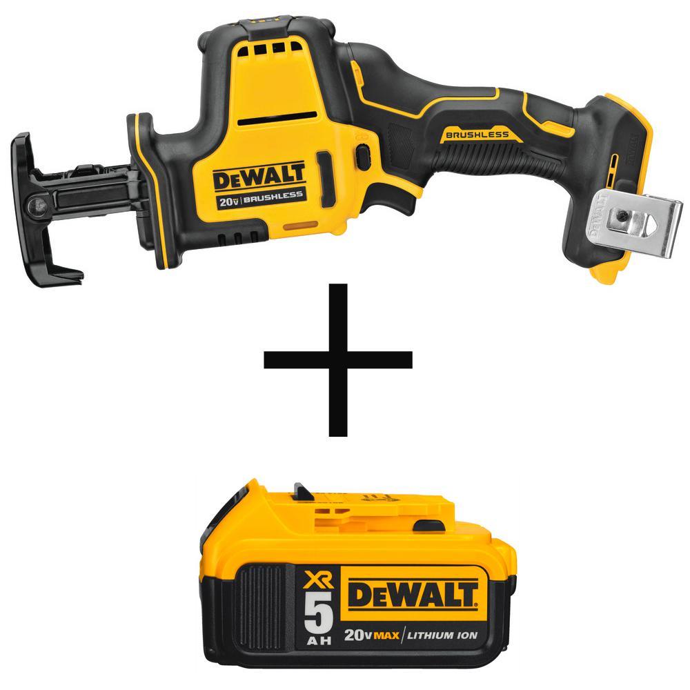 DEWALT ATOMIC 20-Volt MAX Brushless Compact Reciprocating Saw (Tool-Only) with Bonus 20-Volt MAX Li-Ion Premium Battery 5.0Ah