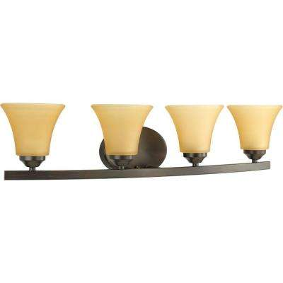 Adorn Collection 4-Light Antique Bronze Bathroom Vanity Light with Glass Shades