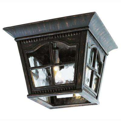 Bostonian 3-Light Antique Rust Outdoor Flushmount Fixture with Water Glass