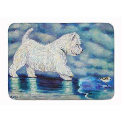 19 in. x 27 in. Misty Westie Machine Washable Memory Foam Mat