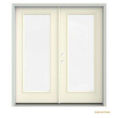 72 in. x 80 in. Vanilla Painted Steel Right-Hand Inswing Full Lite Glass Stationary/Active Patio Door